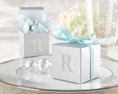 Jeweled Monogram Silver Favor Kit. I love these favor boxes they are the cutest.