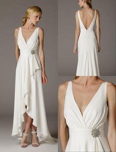 2016 Sexy Simple Deep V Neck Ruffle Satin Informal Wedding Dresses Sleeves High Low Second Wedding Bridal Gowns Low Back Wedding Dress Sale Wedding Dress Uk From Helen_fontaine, $56.18| Dhgate.Com