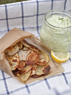 Oh yum! Homemade baked potato chips and avocado ranch dip (includes tip on how to keep dip from going brown)