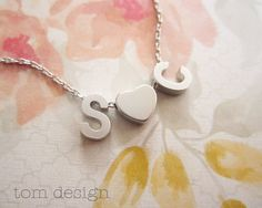 LOVE Tiny Silver Initial & Heart Necklace  Silver by TomDesign, $24.00