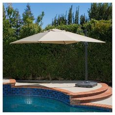 Geneva 9ft Square Patio Canopy Umbrella With Stand - Mocha (Brown) - Christopher Knight Home