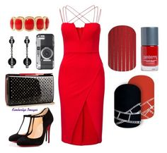 """Clubbing with Jamberry"" by kspantongroup on Polyvore featuring Rare London, Christian Louboutin and Monet"