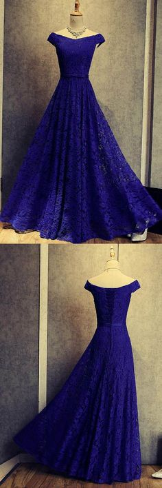 , Royal Blue  Dresses, Lace Prom Dresses, Lace Prom Dresses 2018, Blue Prom Dresses,