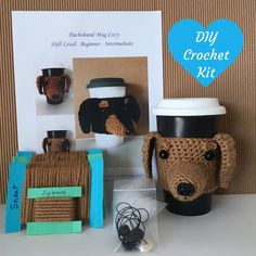 Crochet Kits with Yarn - Crochet Kits - Amigurumi Kit - DIY Craft Project - Crochet Dog Pattern - Gift for Crocheter - Crochet Gift