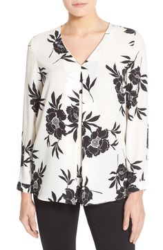 Print Floral Long Sleeve V-Neck Blouse