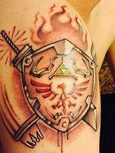 Zelda tattoo , Final Fantasy Kingdom hearts mash up. Zelda final fantasy Kindom of Hearts. Up Tattoos, Future Tattoos, Tattoo You, Sleeve Tattoos, Tatoos, Final Fantasy Tattoo, Fantasy Tattoos, Nintendo Tattoo, Gaming Tattoo