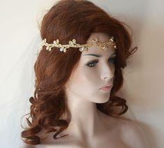 Wedding Gold Rhinestone Headband, Bridal Hair Accessory, Bridal Headband, Bridal Headbands, Wedding Hair Accessory