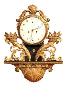 18th Century French Louis XV Carved Gilt Fruit Basket and Shell Wall Clock on DECASO.com