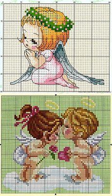 Схема вышивки ангелов маленькие