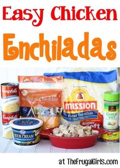 Easy Chicken Enchiladas Recipe! ~ from http://TheFrugalGirls.com ~ this easy dinner recipe will have your family begging for an Enchilada! SO simple and delicious!! #recipes #thefrugalgirls #main-course #recipes #dinner #recipe #easy #healthy