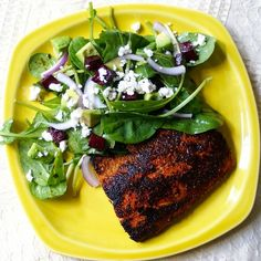 Seared cajun spiced salmon with roasted beet, goat cheese, and avocado salad.  Garlic-chive vinaigrette.