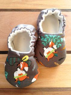 Organic baby shoes fox fabric baby vegan baby by Ogresbyjam