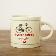 Buy Bicycle Rider's Favourite Tea Mug from rigby & mac: A great gift for cyclists, particularly ones that prefer to be sat on the sofa with a nice cup of tea.- Material: Ceramic- Size: x Buy Bicycle, Fun Cup, Jar Storage, Tea Mugs, Cool Gifts, Coffee Cups, Baby Gifts, Gifts For Her, Tableware