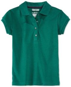 Nautica School Uniform Picot-Trim Polo, Little Girls (4-6X) - Green XL