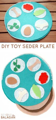 Make this really fun Pesach toy - a felt seder plate for passover. This Pesach craft is fun for toddlers to play with! #passover #pesach #beyondthebalagan