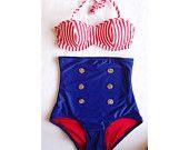 Nautical High Waist Pin Up Bikini Two Piece Swimsuit XS-XXL Underwire Bikini Retro Bikini Plus Size Swimsuit