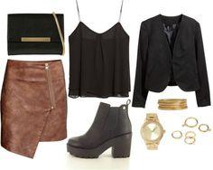 Saia – H&M   Top – Mango   Clutch – Aldo   Botas – Seaside   Blazer – H&M   Pulseiras – H&M    Relógio – Forever21   Anéis – Forever21