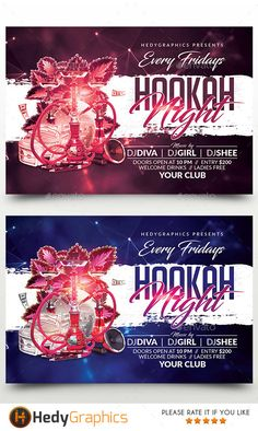 Hookah Night Flyer — Photoshop PSD #arabian #template • Available here → https://graphicriver.net/item/hookah-night-flyer/19220801?ref=pxcr