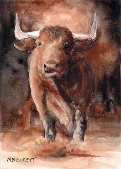 ACEO Original Raging Bull cow cattle animals horns steer livestock ranch farm #Impressionism