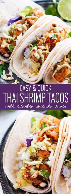 Thai Shrimp Tacos recipe - An Asian fusion twist on Taco Tuesday with chile garlic shrimp, lime jasmine rice, and a homemade cilantro avocado sauce.