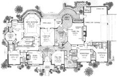 European Style House Plan - 4 Beds 4.5 Baths 4615 Sq/Ft Plan #310-520 Main Floor Plan - Houseplans.com