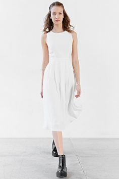 Silence + Noise Pleated Skirt Modern Midi Dress