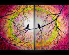 Large Abstract Love Birds in Tree Painting Contemporary Modern Silhouette Rainbow Colors Two Canvas Diptych 24x36 by JMichael