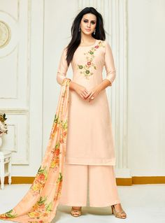 68d56f3f95535c Buy Light Peach Silk Pakistani Style Suit 144673 online at lowest price from  huge collection of