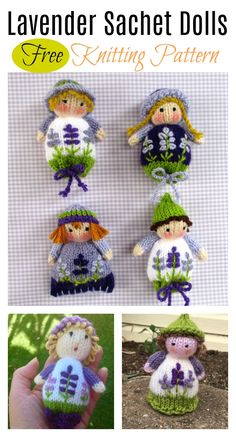 Lavender Sachet Dolls Free Knitting Pattern #Knitting #Freepattern #Doll