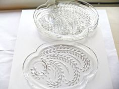 Vintage 1959 Federal Glass Homestead 4 CRYSTAL PLANT/WHEAT SNACK TRAYS   #FederalGlass