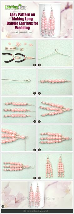Easy Pattern on Making Long Dangle Earrings for Wedding