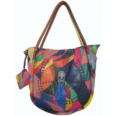 Every inch of this fashionable bag is uniquely designed with a multi-colored layout and a metal-studded skull design is rebellious and fun. A wide opening and convenient pockets are the perfect way to organize your belongings.