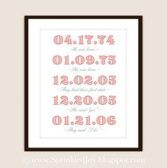 Important Dates PRINT, From Birth, to Dating, to Marriage - Your Love Story - 8x10 Fully Customizable Print with different fonts & colors - (Digital Copy of Print Included For Free). 'He was Born', 'She was Born', 'They had their First Date', 'She said Yes', 'They said I Do'