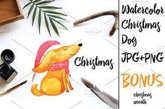watercolor christmas dog by Olesya Morokhovets on @creativemarket