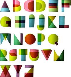 Letterage by Marin van Uhm: Twenty-six letters of the alphabet constructed from seventeen overlapping geometric shapes.  (via Colt + Rane)