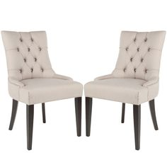 Safavieh Abby 19''H Tufted Side Chairs (Set Of 2) - Silver Nail Heads, Beige & Tan