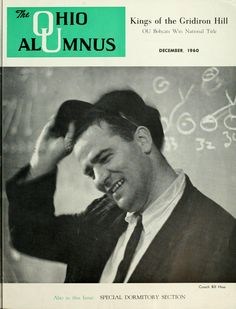 """The Ohio Alumnus, December 1960. """"Joy and relief are reflected in the face of Ohio University's Head Football Coach Bill Hess as he sheds his lucky black cap in the dressing room after defeating Bowling Green 14-7. The next week the Bobcats made it a perfect season by winning their tenth straight victory of the year."""" :: Ohio University Archives"""