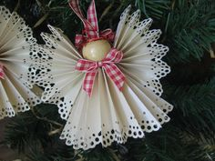 Country Angel Christmas Ornament Beige Paper Ribbon Angel Red Plaid Trim