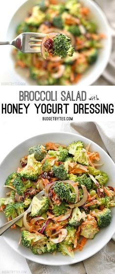 Broccoli Salad with Honey Yogurt Dressing is light and refreshing raw salad for summer. @budgetbytes