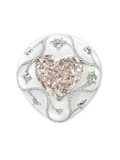 Bogh Art. White gold, inlaid mother of pearl, pink & colorless diamond brooch...♡
