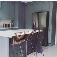 Regram of kitchen featuring Rockett St George Midas Bar… Shaker Kitchen, Kitchen Layout, Kitchen Island, Kitchen Interior, Kitchen Decor, Kitchen Ideas, Island Chairs, Rockett St George, Home Kitchens