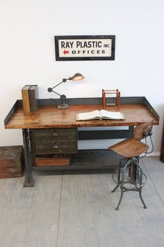 Vintage Industrial Workbench/ Kitchen Island/ Desk/ Toledo Stool/ Edon light - 1940s, by Dorset Finds More