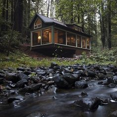 A Sweet Cabin in the Woods Overlooks a Forest Stream | Home Design Find