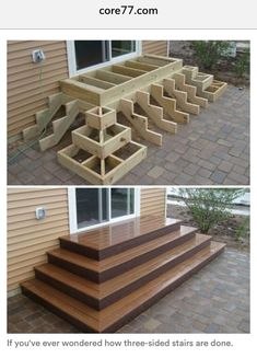 Home Discover Deck stairs - 27 gorgeous patio deck design ideas to inspire you updowny com Outdoor Projects Home Projects Project Projects Backyard Projects Types Of Stairs Deck Stairs Wood Stairs Front Porch Stairs House Stairs Backyard Patio, Backyard Landscaping, Wood Patio, Wood Decks, Backyard Layout, Patio Decks, Wood Deck Designs, Small Backyard Decks, Landscaping Ideas