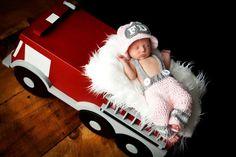 Newborn Fireman Set for Baby Girls by MadhatterknitsCo on Etsy, $35.00