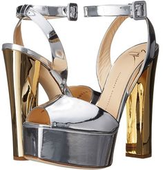 9f5490df37 Giuseppe Zanotti Metallic Chunky Heel Sandal Women's Shoes - ShopStyle