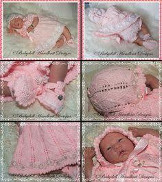Picot Edged Dress set 16-22 inch dolls/newborn/0-3m baby-dress, reborn, baby, doll, knitting pattern, smocking