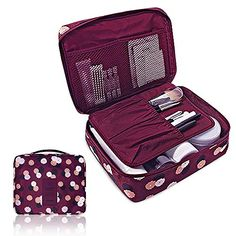 cool Pockettrip Clear Cosmetic Makeup Bag Toiletry Travel Kit Organizer New 2015 With 1 pc Pockettrip Luggage Tag (Flower in Wine Red)
