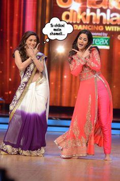 Madhuri Dixit and Katrina Kaif performing Chikni Chameli