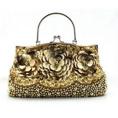 Online Shop Gold Fashion New Women s Beads Sequins Handbag Bling Evening  Party Bag Floral Clutches Totes Chain Purse Size 24 x 1332 e5ab7ccadeaa